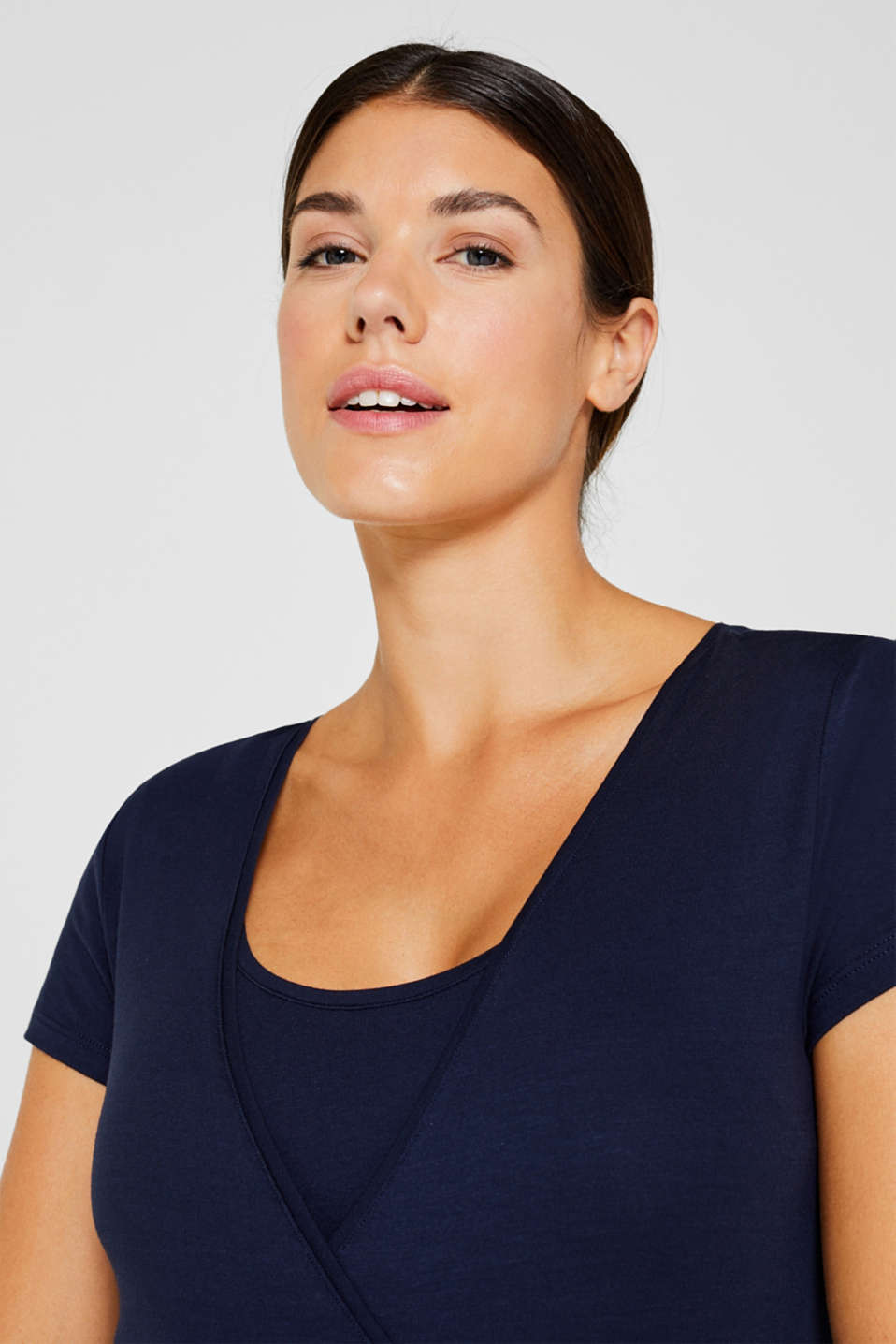 Flowing stretch nursing top, LCNIGHT BLUE, detail image number 6