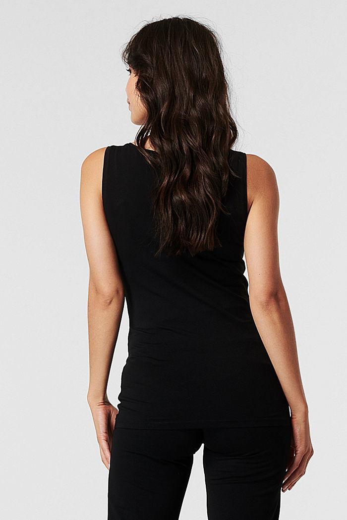 Stretch cotton vest, BLACK, detail image number 1