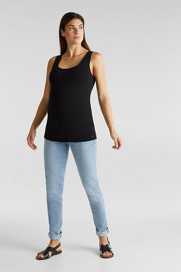 Stretch cotton vest, BLACK, detail image number 2