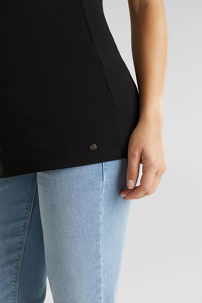 Stretch cotton vest, BLACK, detail image number 3