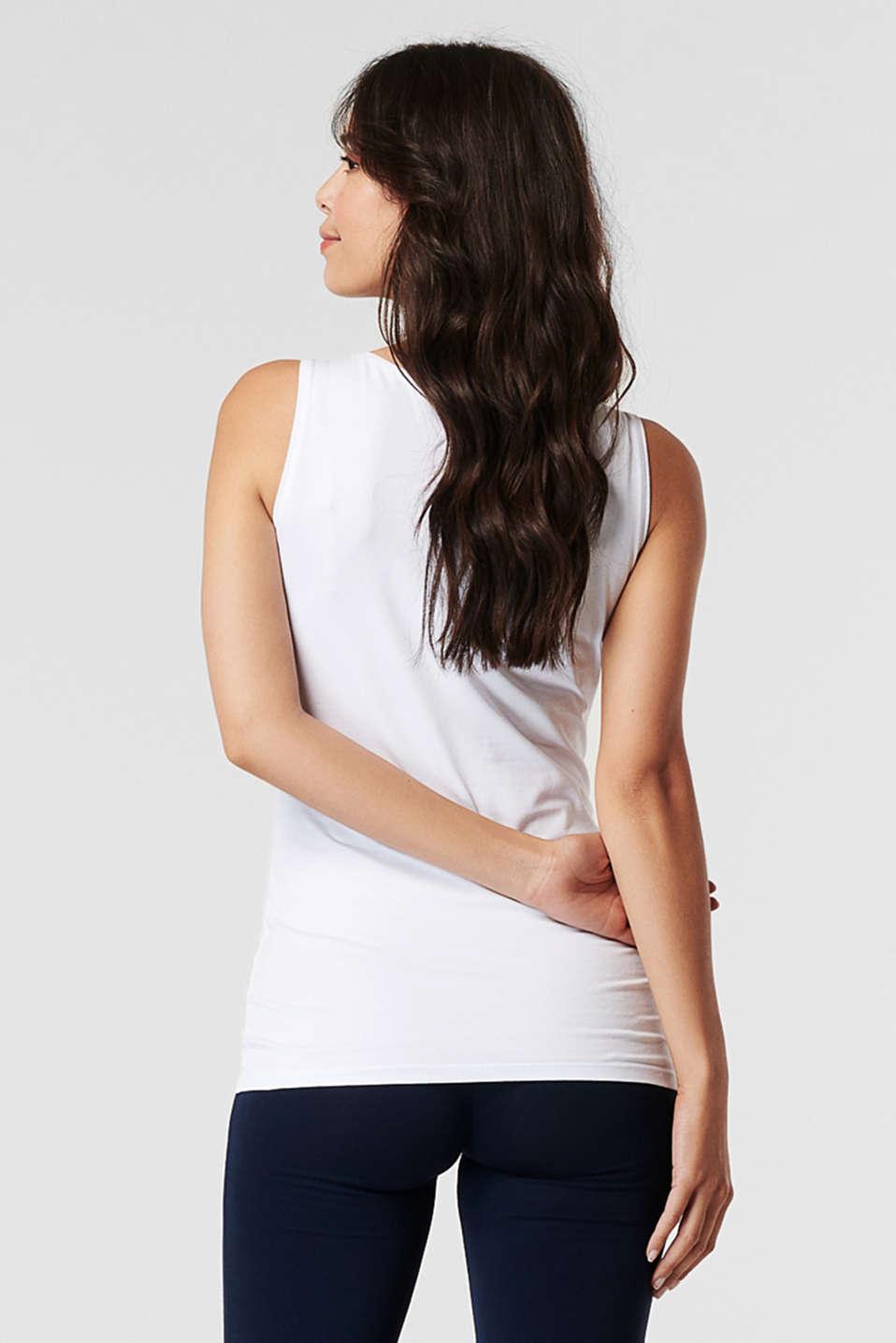 Stretch cotton vest, LCWHITE, detail image number 1