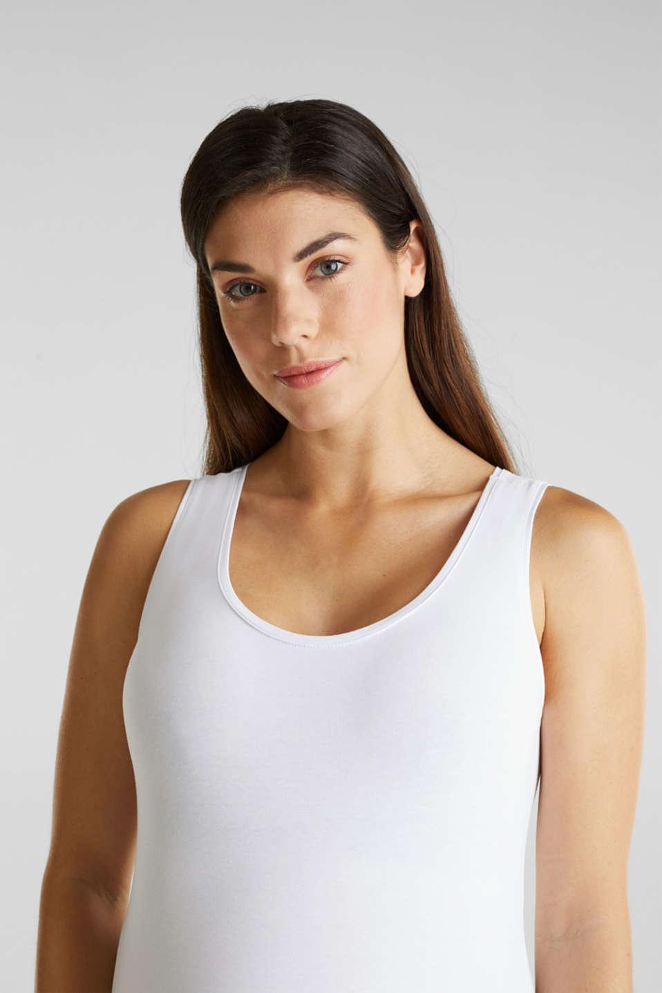 Stretch cotton vest, LCWHITE, detail image number 3