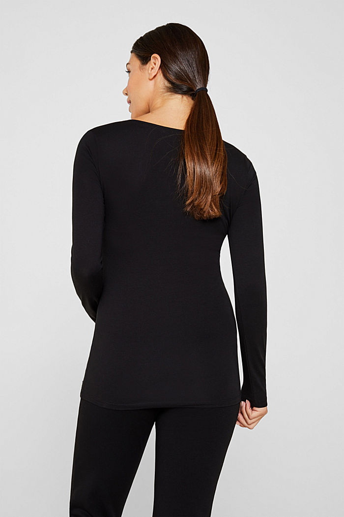Nursing long sleeve top with a button placket, BLACK, detail image number 3