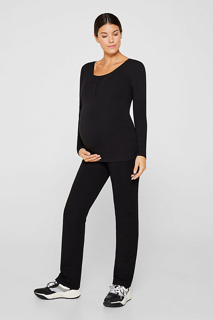 Nursing long sleeve top with a button placket, BLACK, detail image number 1