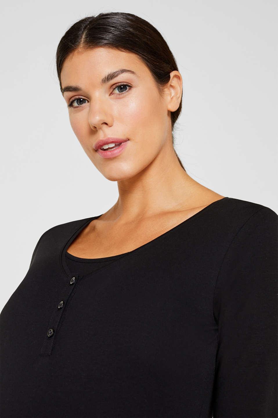 Nursing long sleeve top with a button placket, LCBLACK, detail image number 5