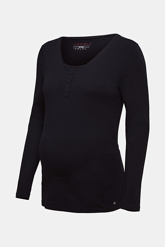 Nursing long sleeve top with a button placket, BLACK, detail image number 6