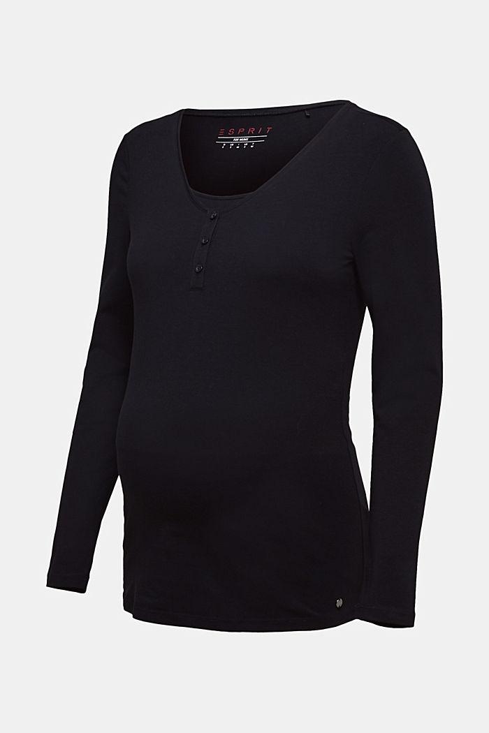 Voedingsshirt met lange mouwen en knoopsluiting, BLACK, detail image number 0