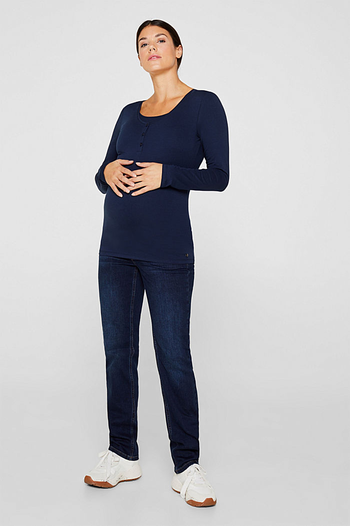 Nursing long sleeve top with a button placket, NIGHT BLUE, detail image number 1