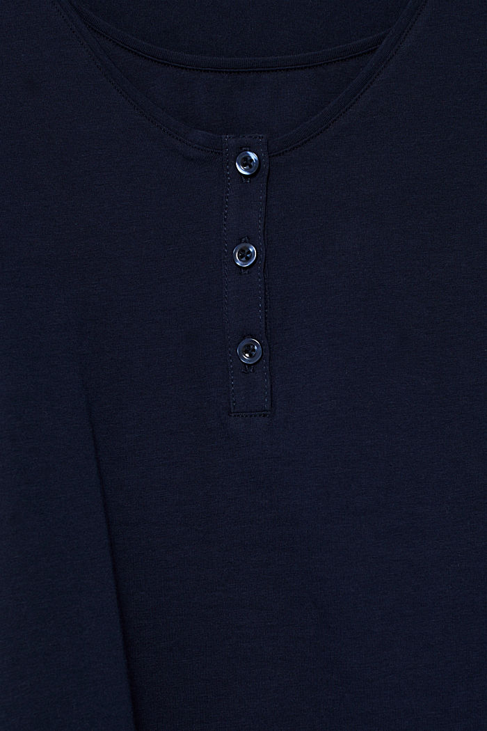 Nursing long sleeve top with a button placket, NIGHT BLUE, detail image number 0