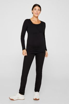 Stretch long sleeve nursing top, LCBLACK, detail
