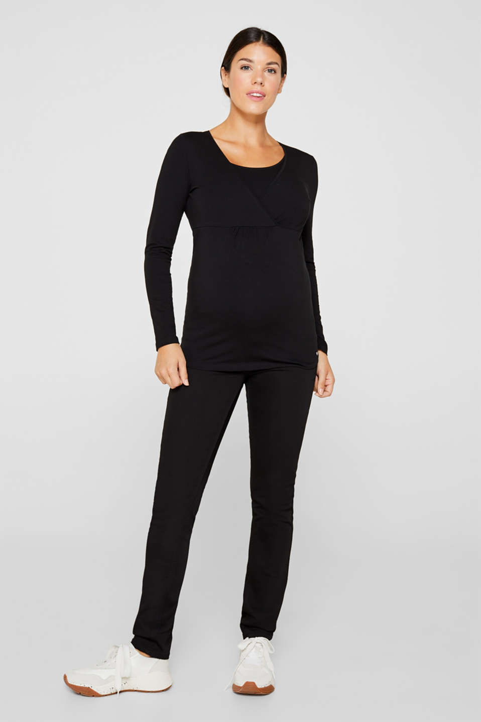 Stretch long sleeve nursing top, LCBLACK, detail image number 1