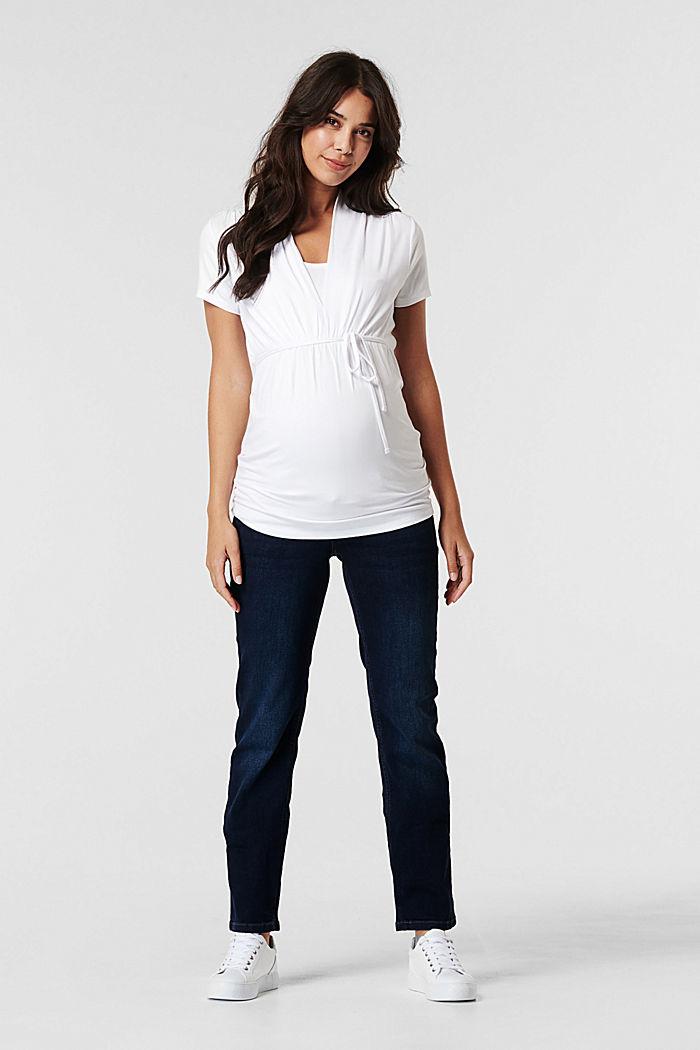 Stretch-Jeans mit Überbauchbund, BLUE DARK WASHED, detail image number 0