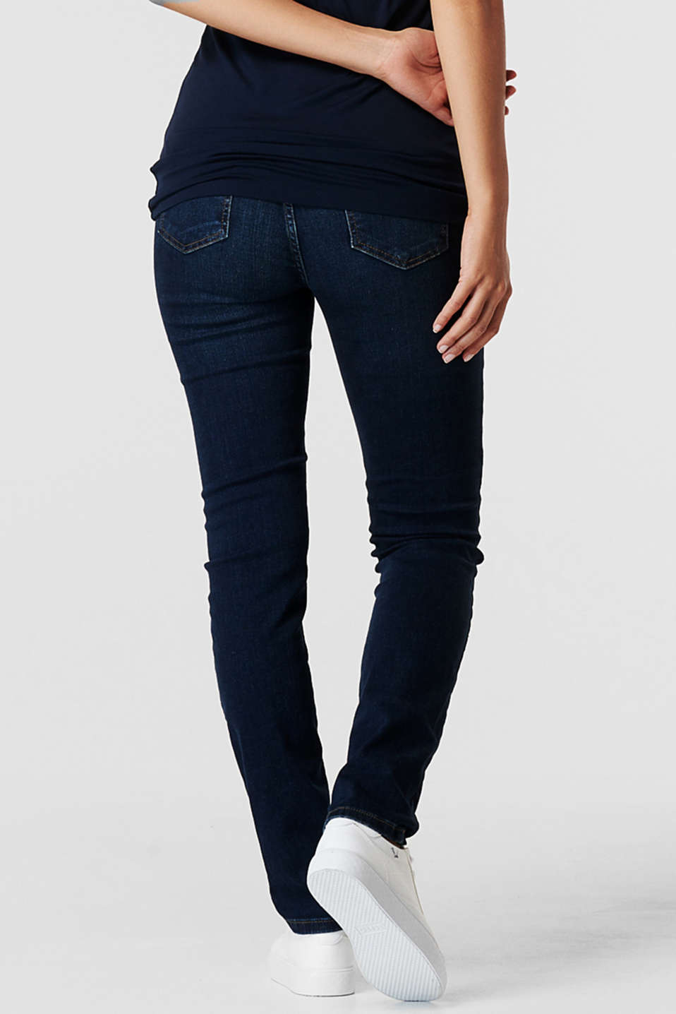 Stretch jeans with an over-bump waistband, LCDARKWASH, detail image number 3