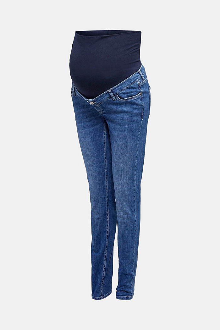 Stretch jeans with an over-bump waistband, BLUE MEDIUM WASHED, detail image number 0