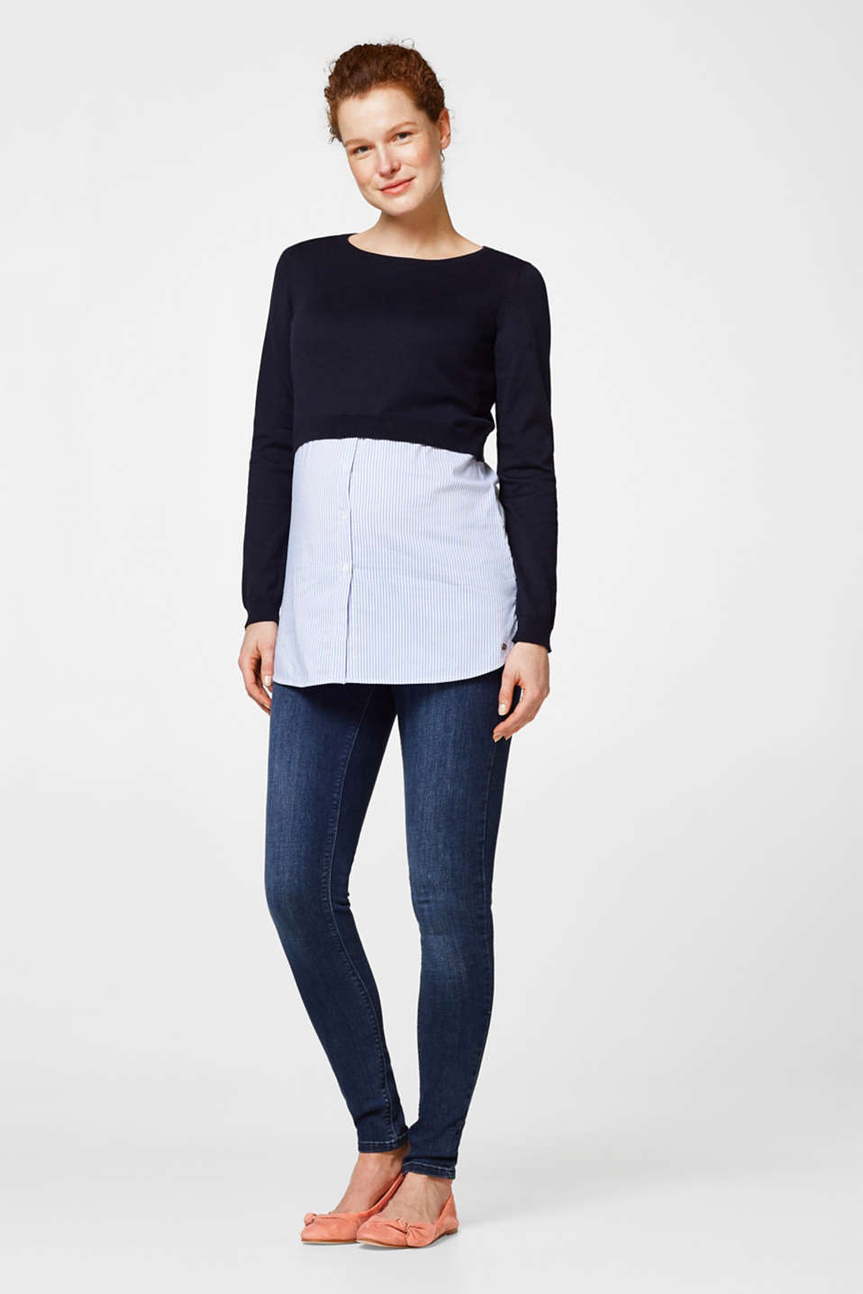 Esprit - Jeggings with a below-bump waistband