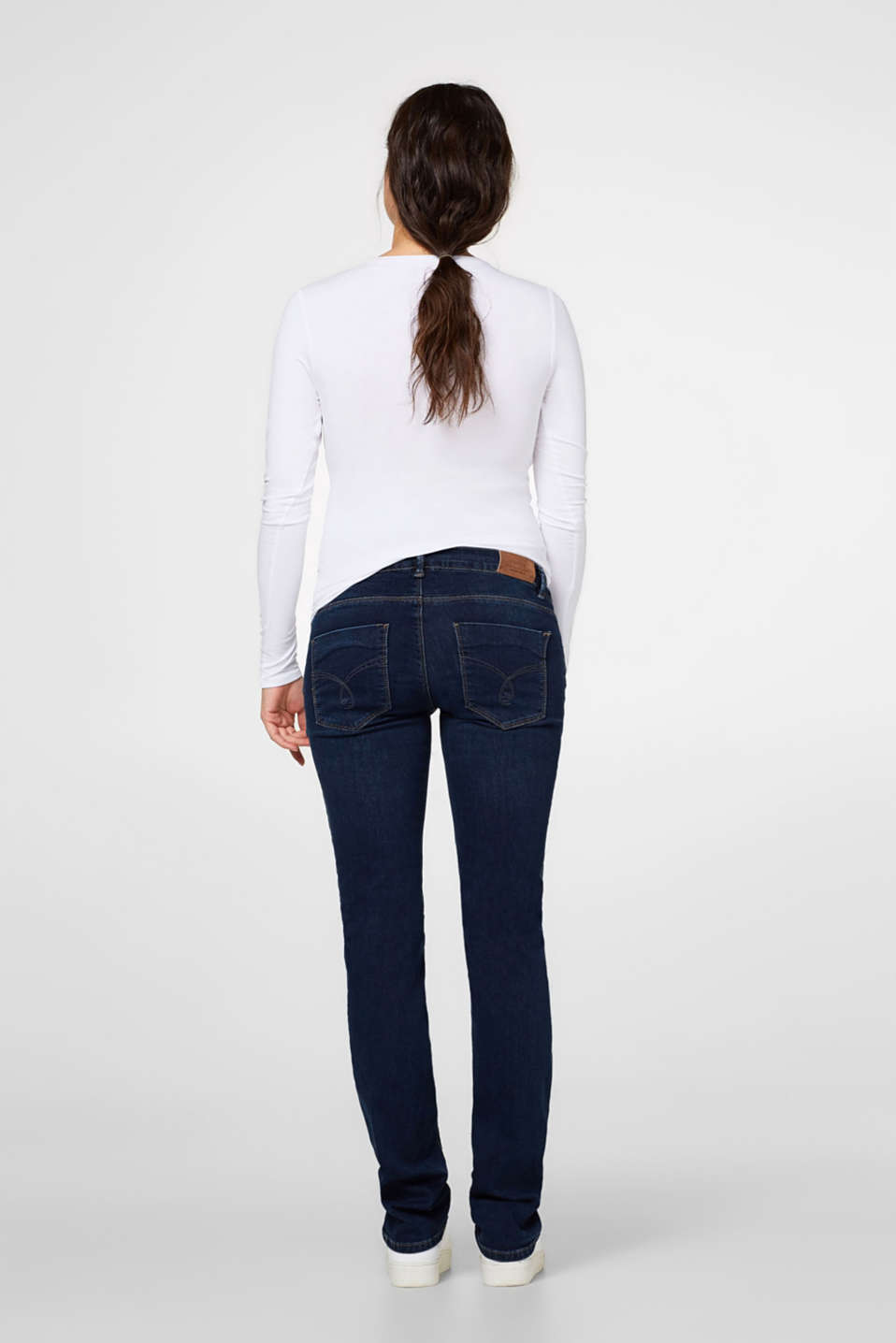 Stretch jeans + above-bump waistband, LCDARKWASH, detail image number 2