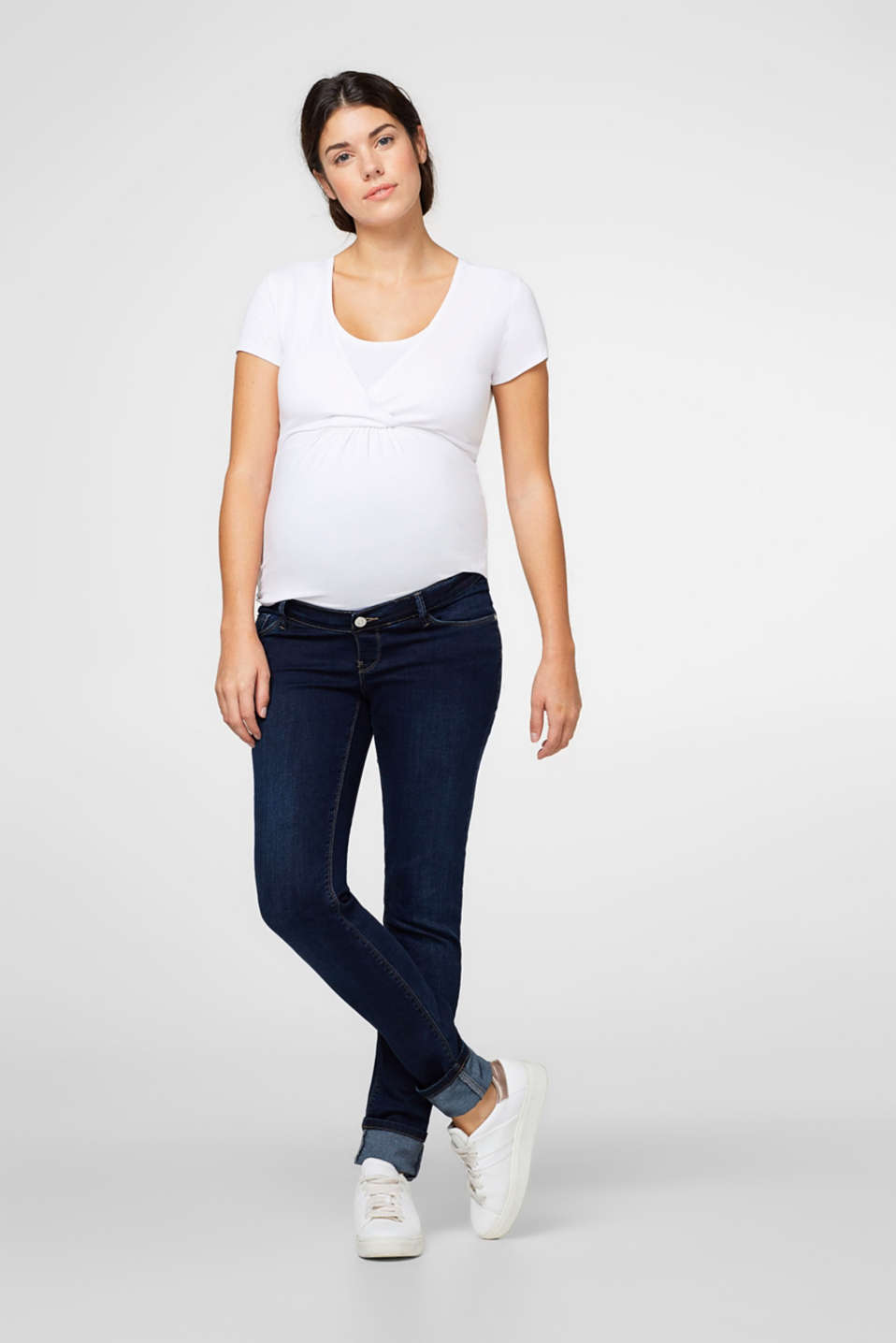 Esprit - Dark denim jeggings + above-bump waist
