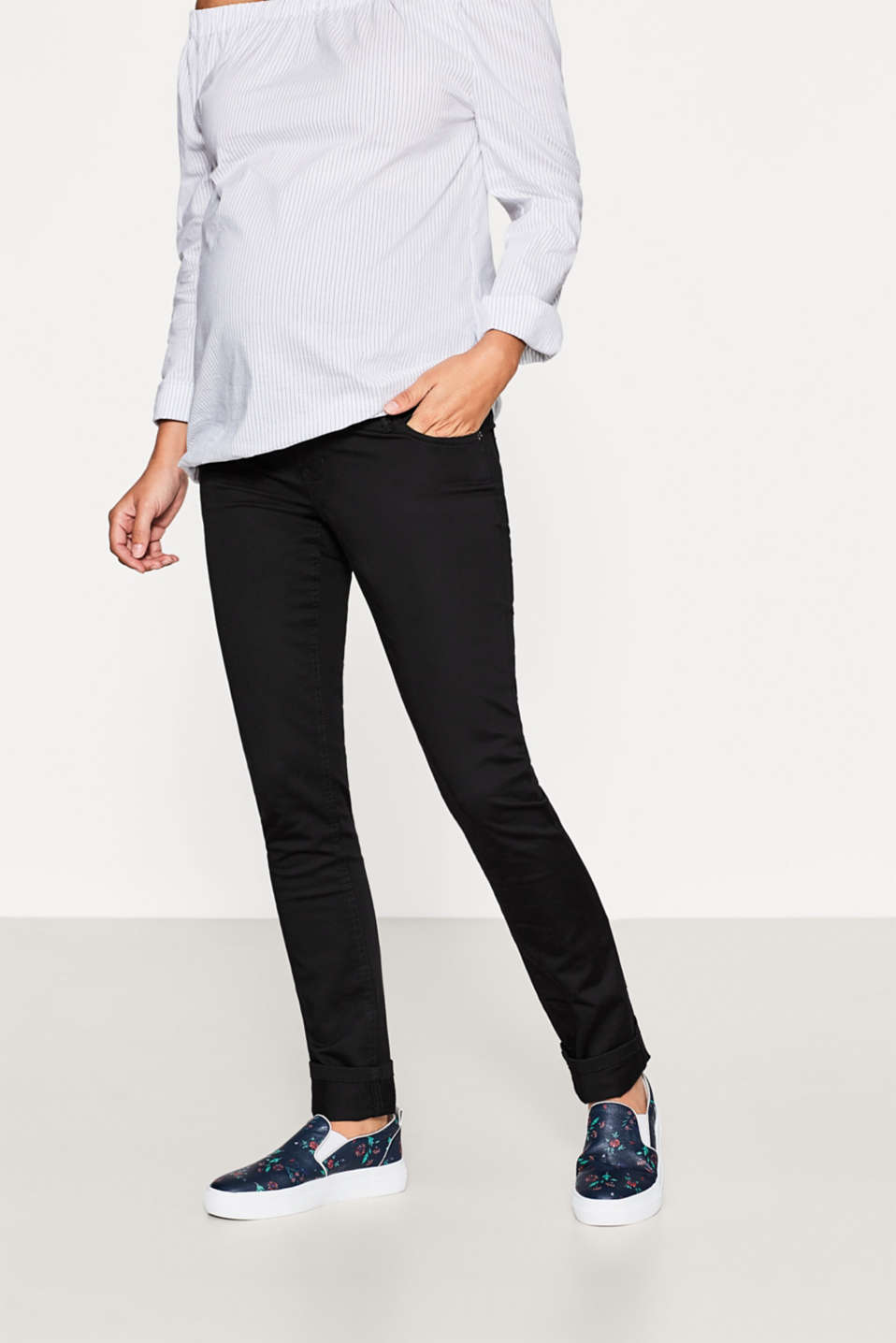 Esprit - Satin trousers with over-bump waistband