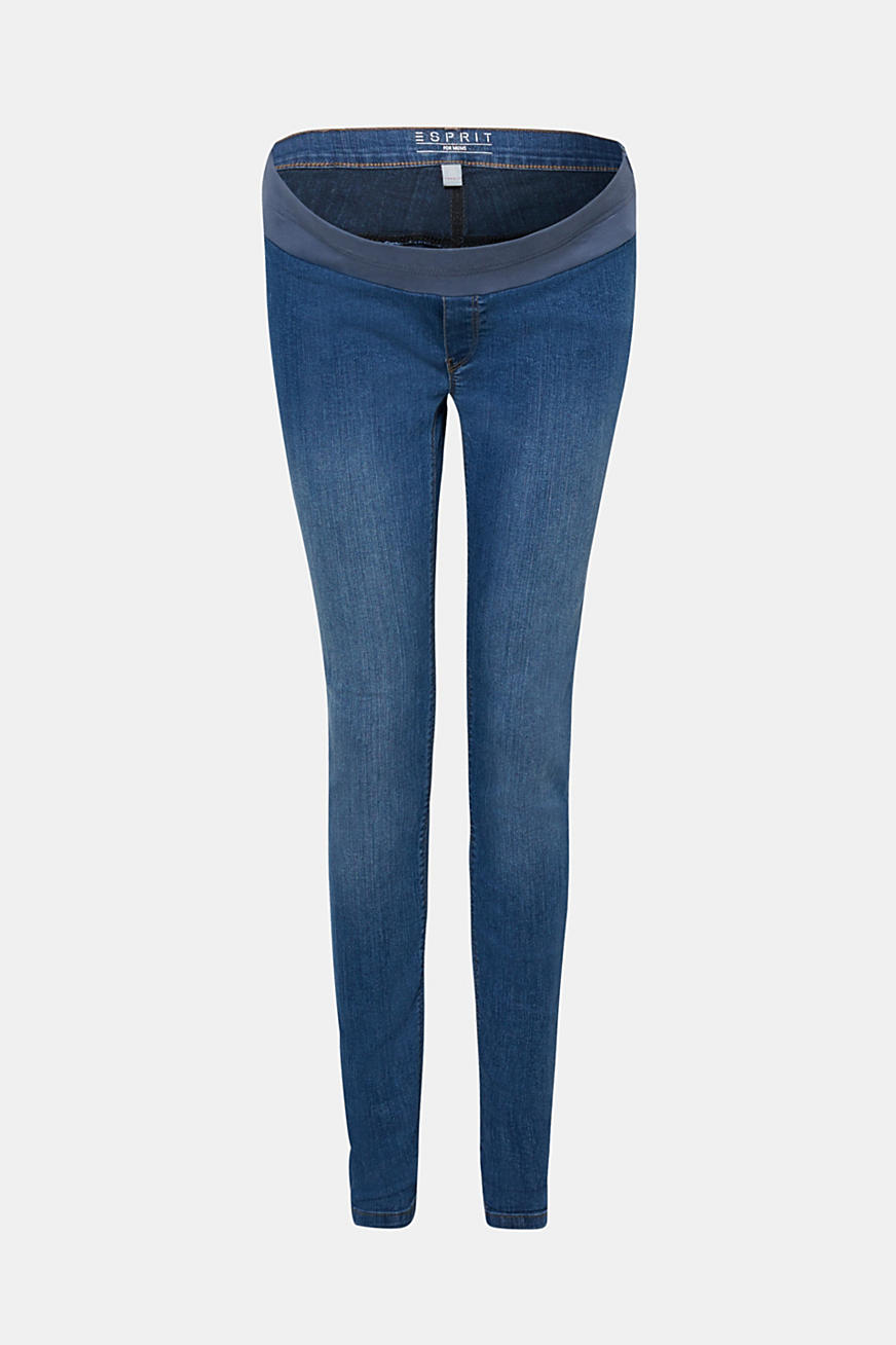 Stretch-jeggings med linning under magen