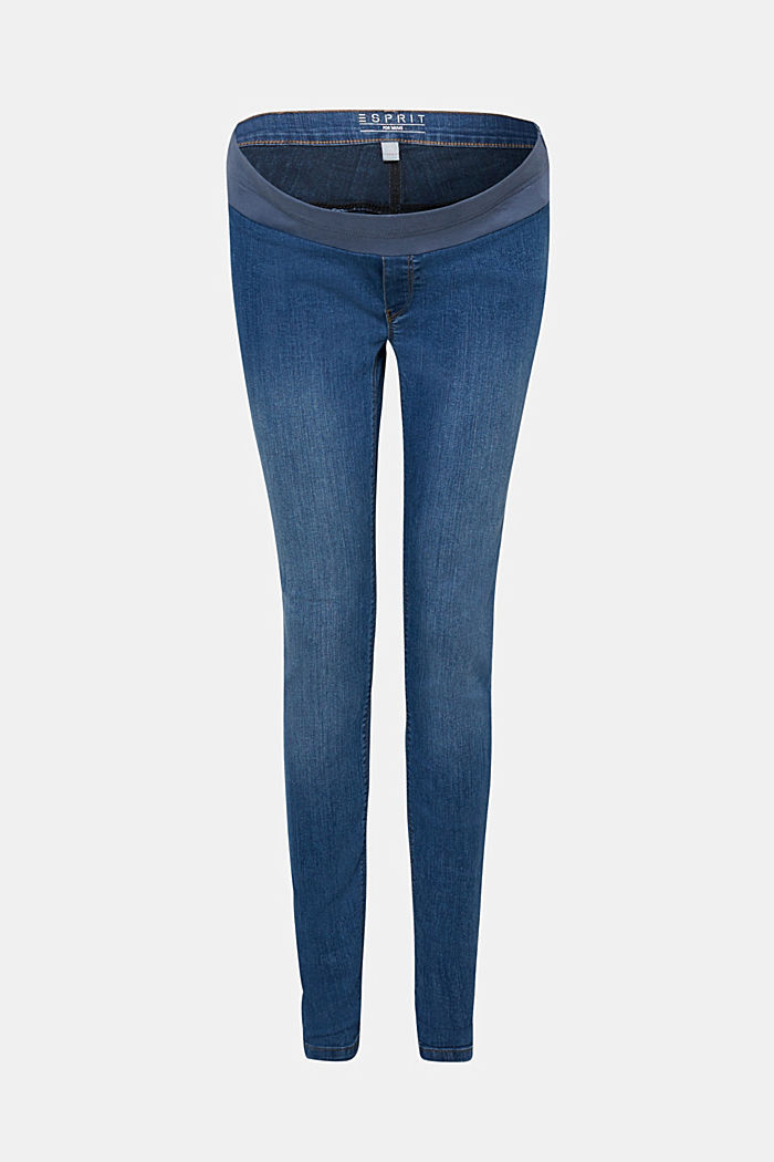 Stretch jeggings with an under-bump waistband, BLUE MEDIUM WASHED, detail image number 5
