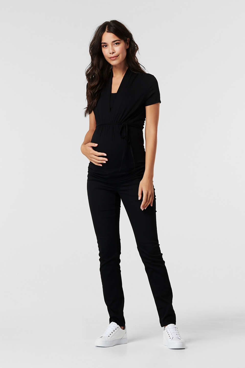 Esprit - Stretch trousers with an over-bump waistband