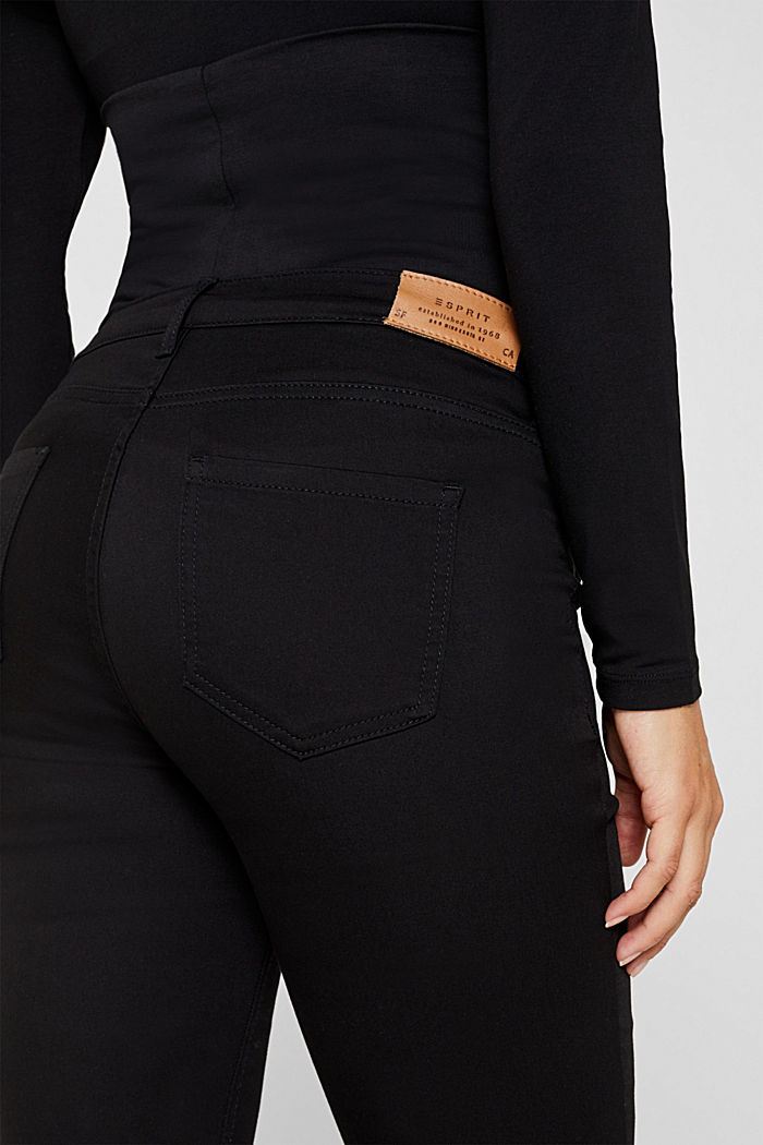 Stretch trousers with an over-bump waistband, BLACK, detail image number 1