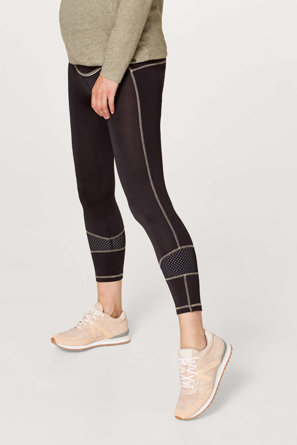 High-performance leggings with mesh details, LCBLACK, detail image number 0