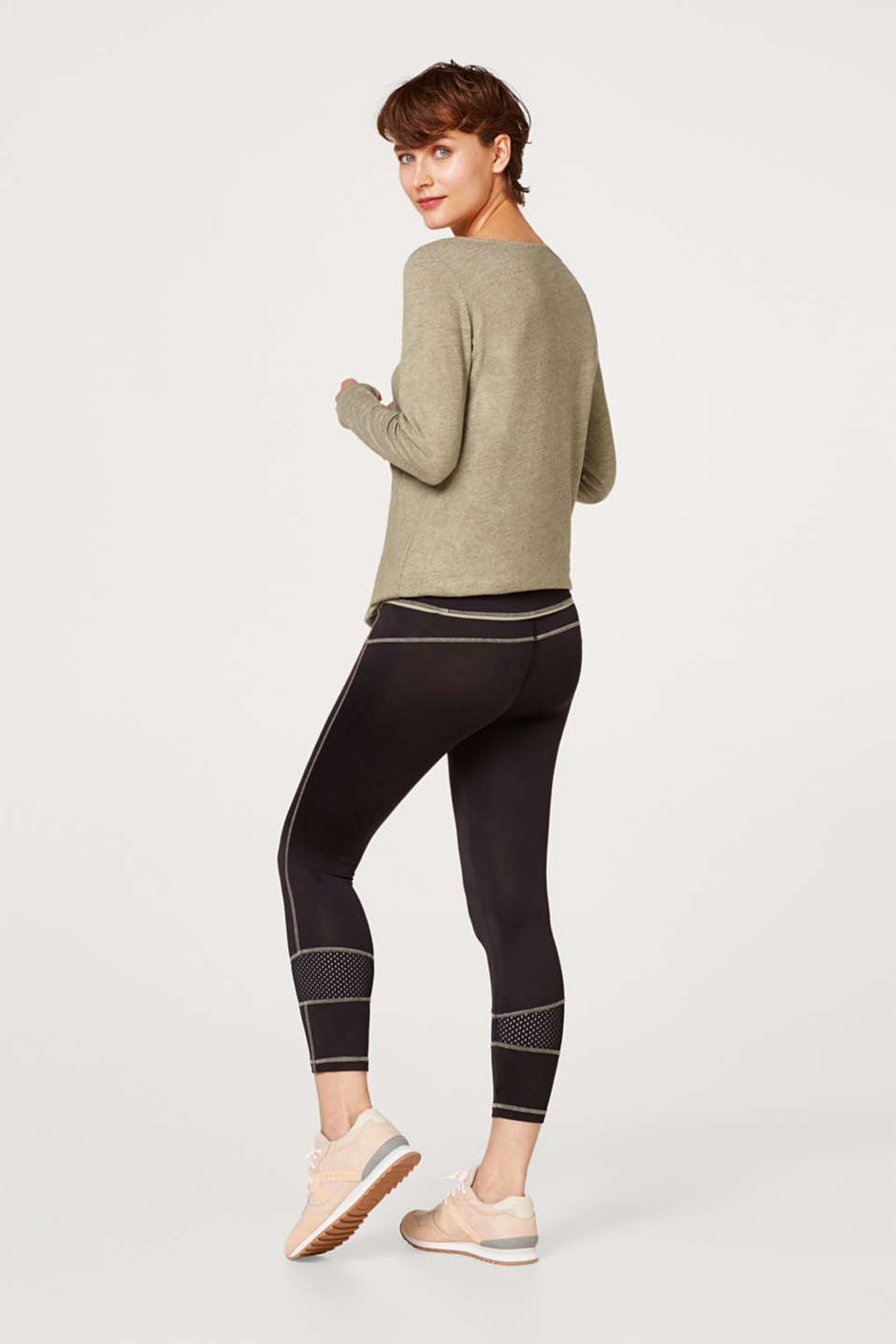 High-performance leggings with mesh details, LCBLACK, detail image number 3
