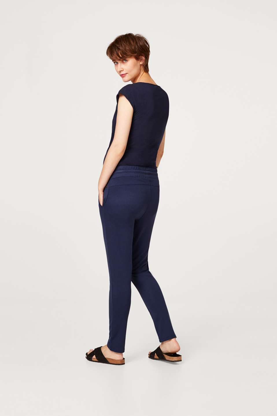 Stretch jersey trousers with an under-bump waistband, LCNIGHT BLUE, detail image number 3
