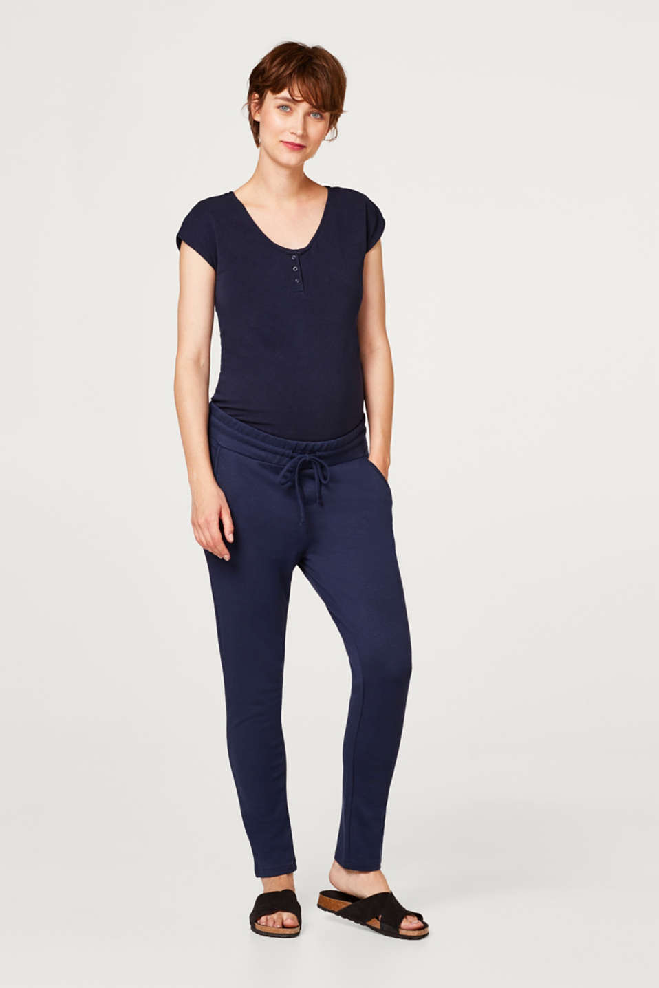 Stretch jersey trousers with an under-bump waistband