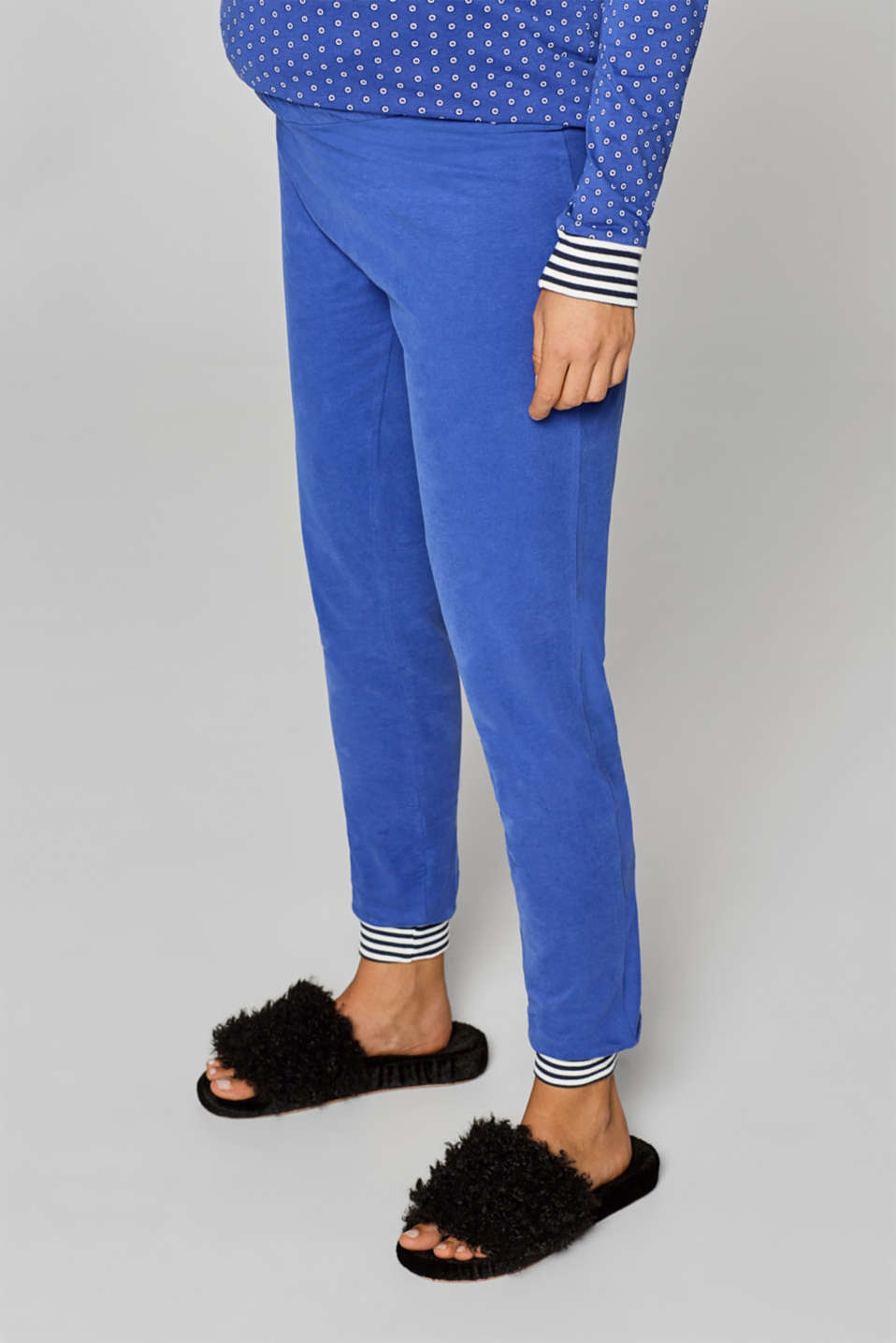 Stretch jersey trousers with an under-bump waistband, LCELECTRIC BLUE, detail image number 0