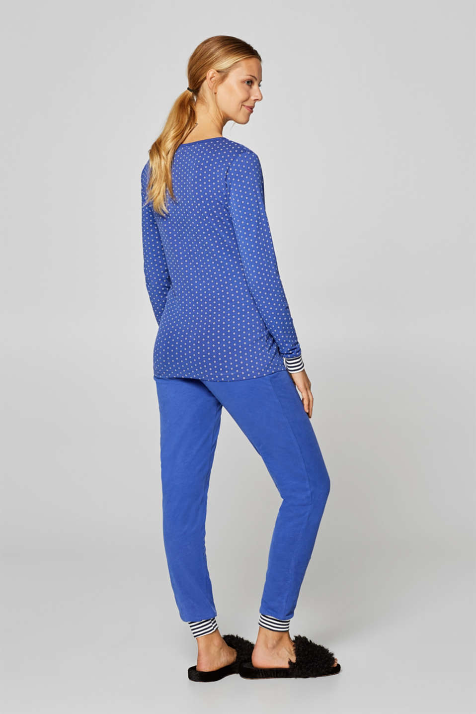 Stretch jersey trousers with an under-bump waistband, LCELECTRIC BLUE, detail image number 3