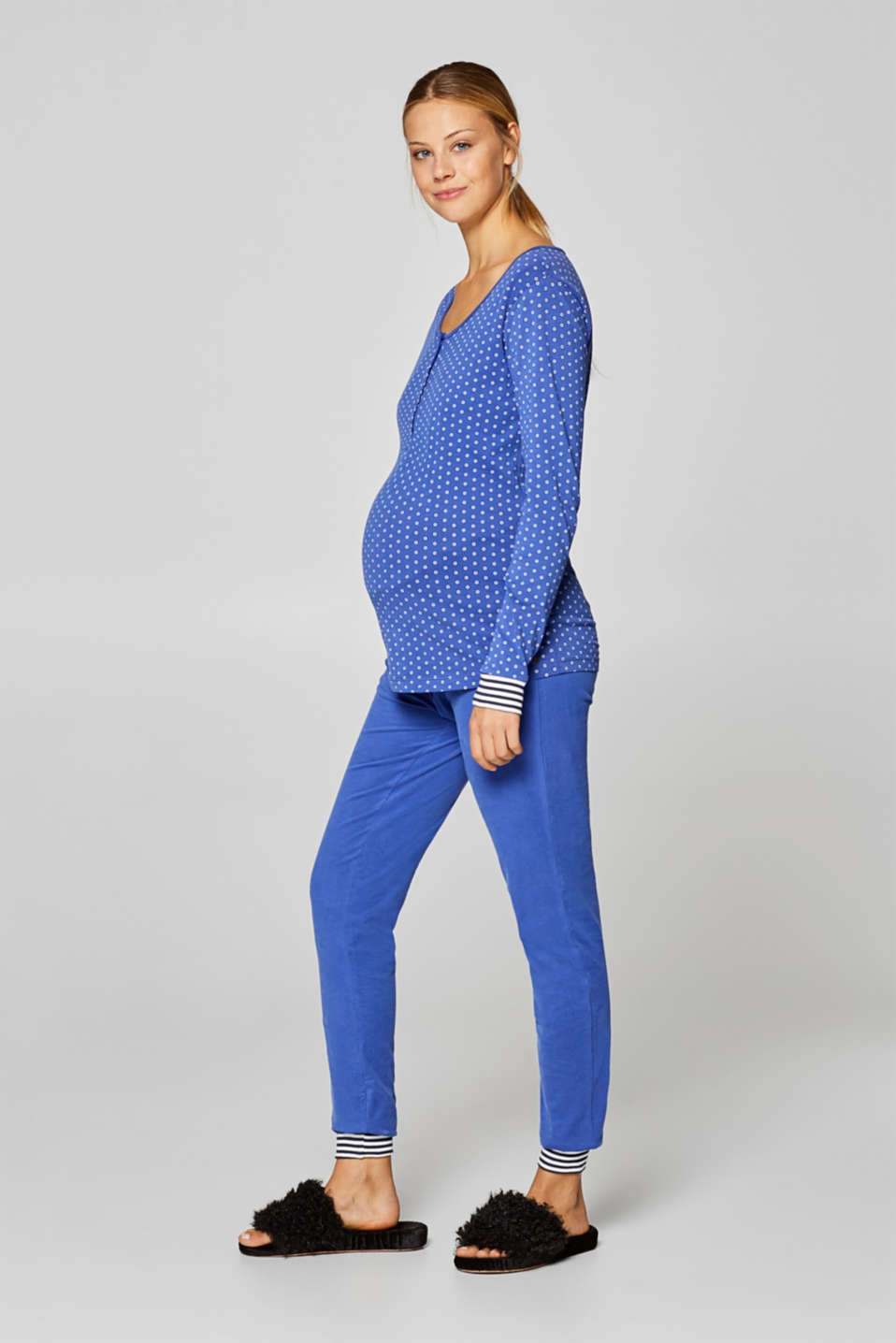 Stretch jersey trousers with an under-bump waistband, LCELECTRIC BLUE, detail image number 1