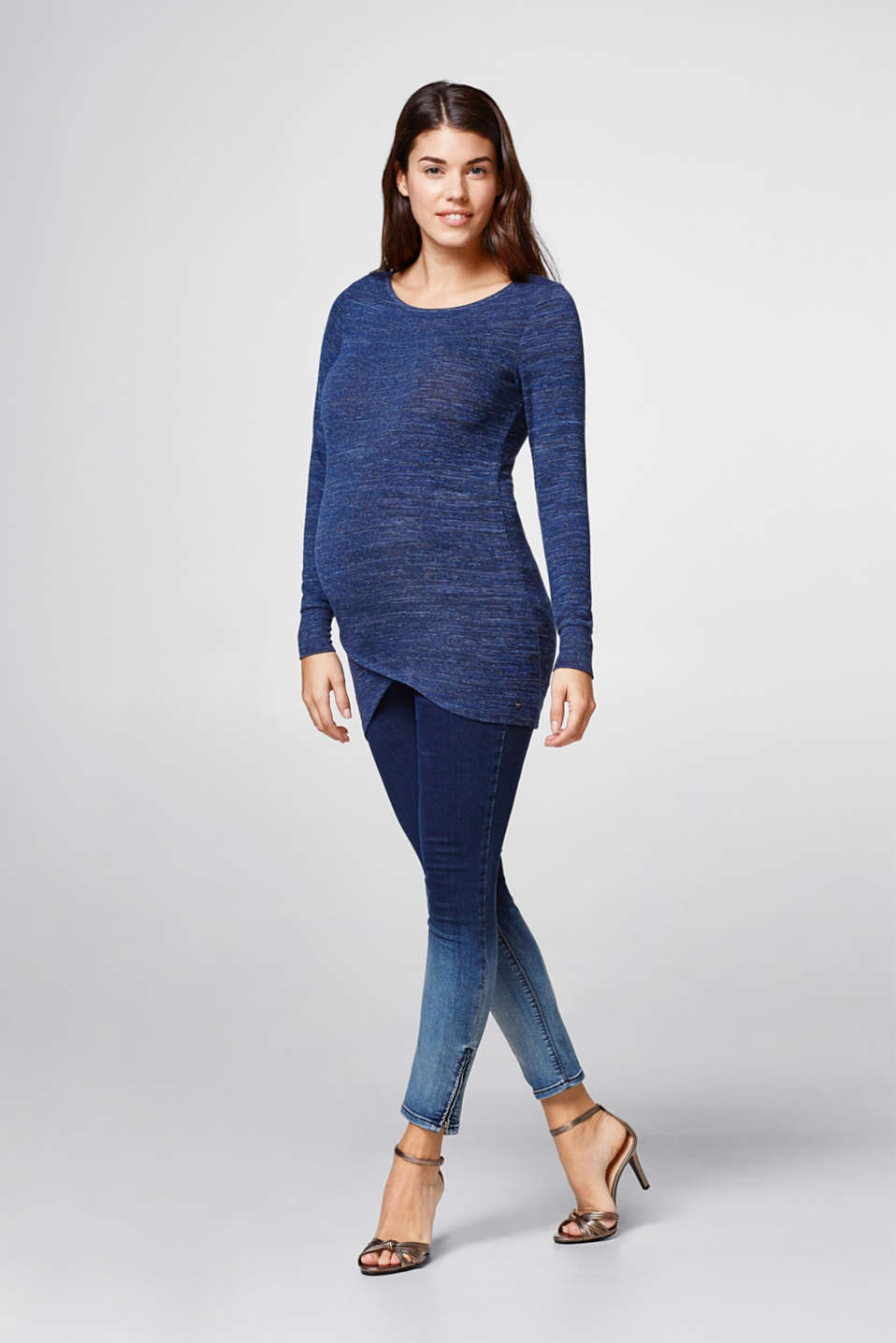 Soft melange long sleeve top, layered hem