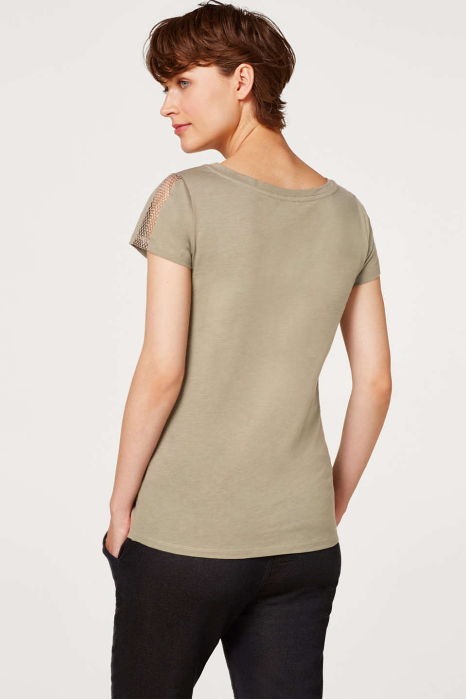 Net detail T-shirt, 100% cotton, LCREAL OLIVE, detail image number 3