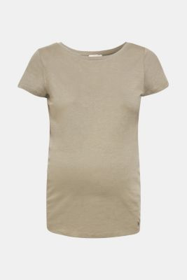 Net detail T-shirt, 100% cotton, LCREAL OLIVE, detail