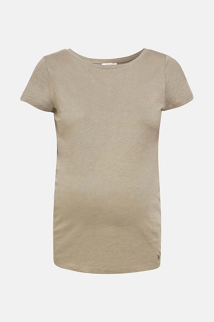 Net detail T-shirt, 100% cotton, REAL OLIVE, detail image number 0