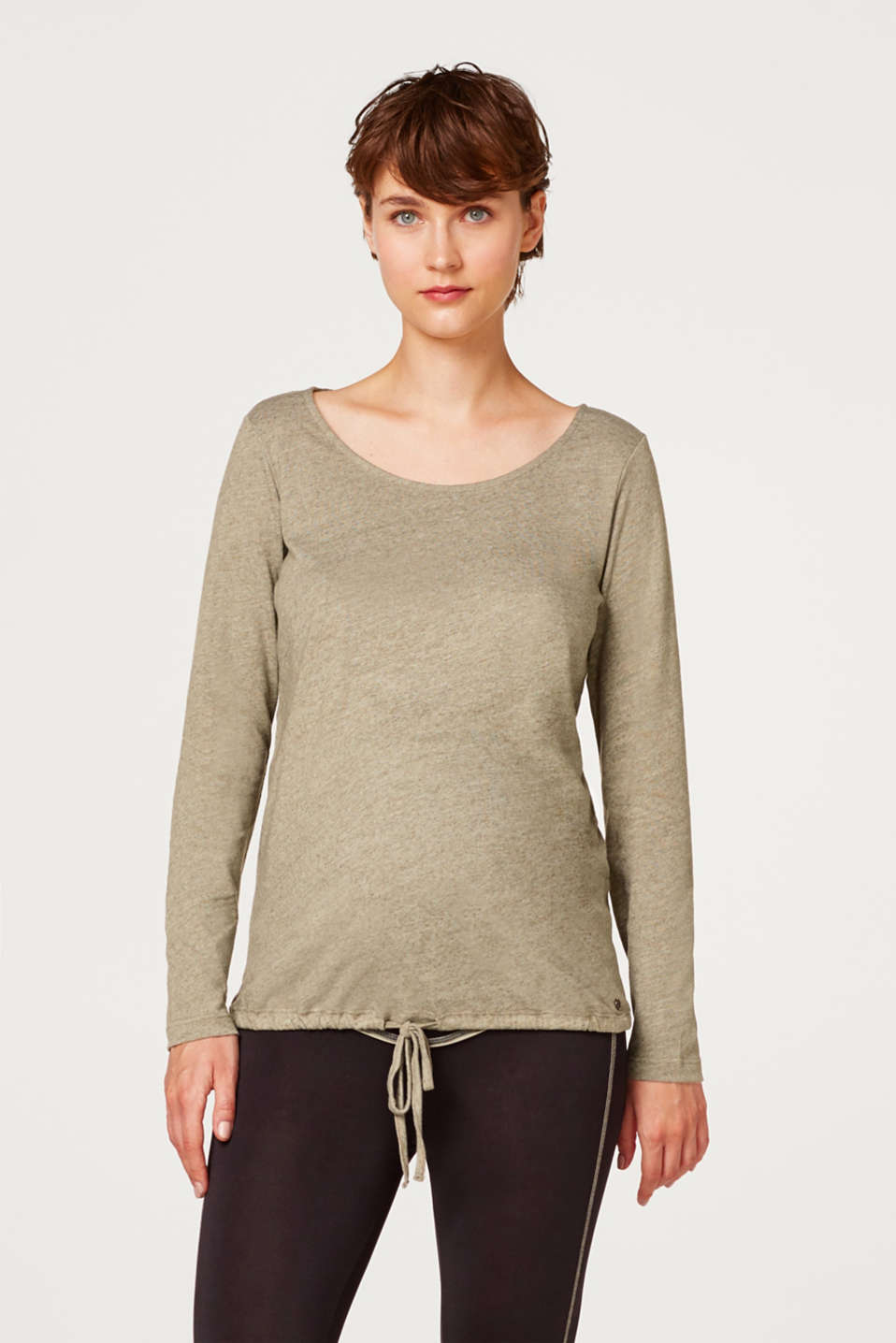 Esprit - Melange long sleeve top with a drawstring