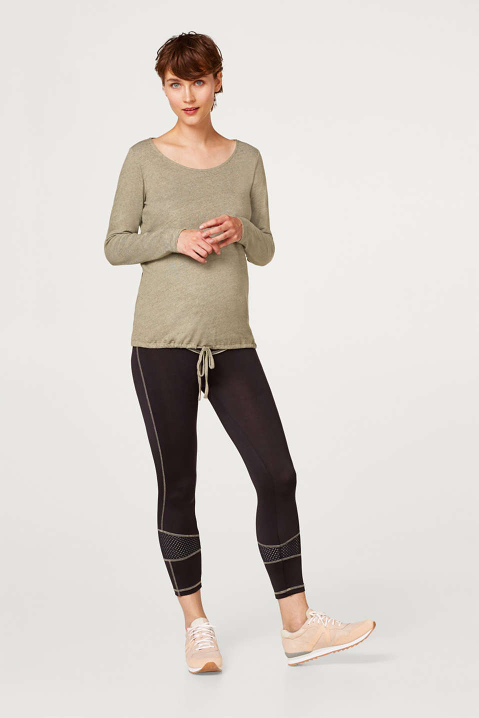 Melange long sleeve top with a drawstring