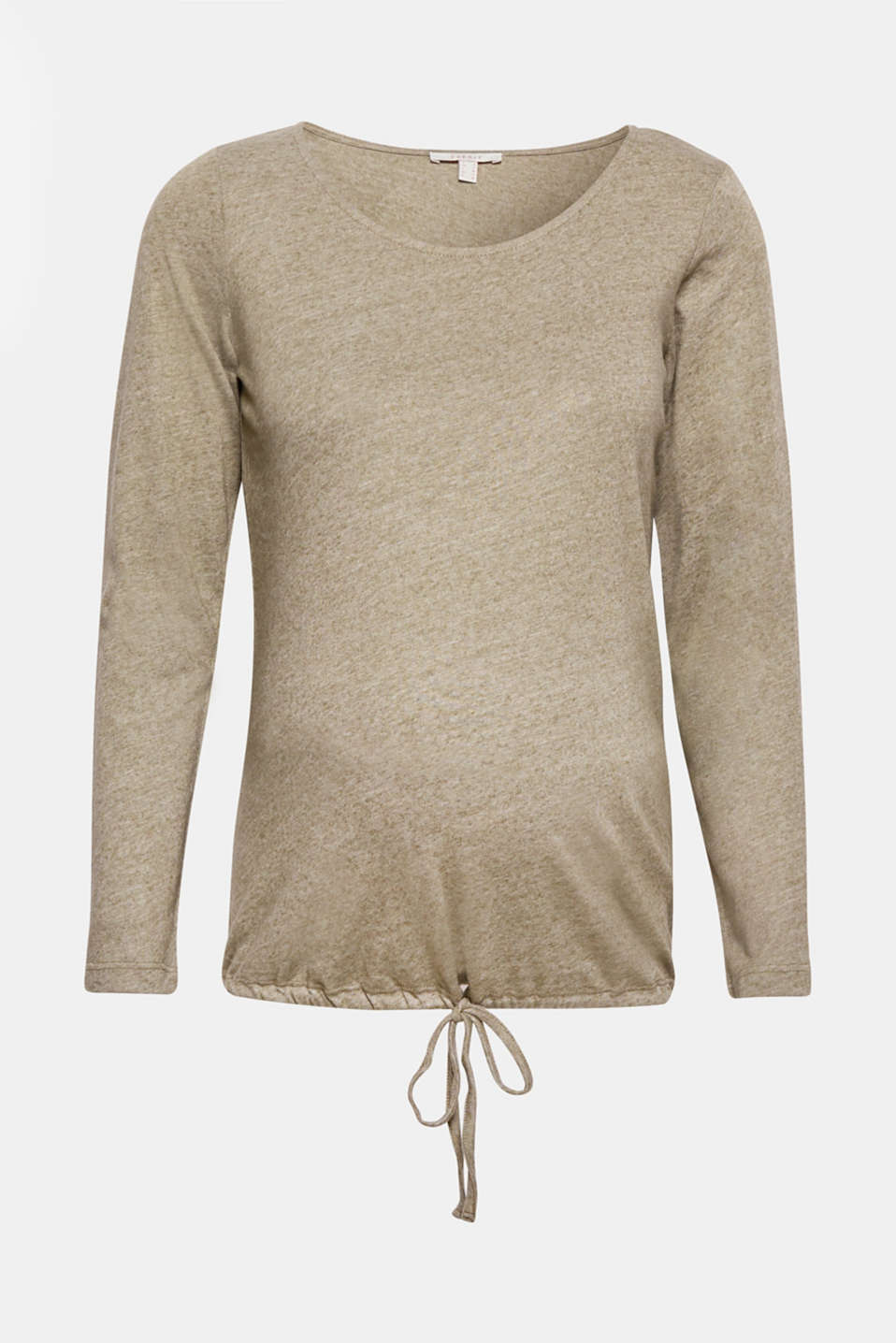 This melange long sleeve top composed of soft jersey is great for relaxing and sleeping! The drawstring hem provides additional comfort.