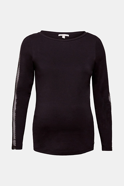 Long sleeve top with mesh details, 100% cotton