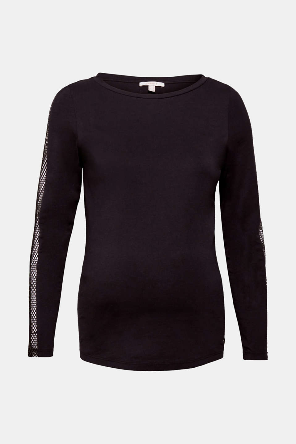 Esprit - Long sleeve top with mesh details, 100% cotton