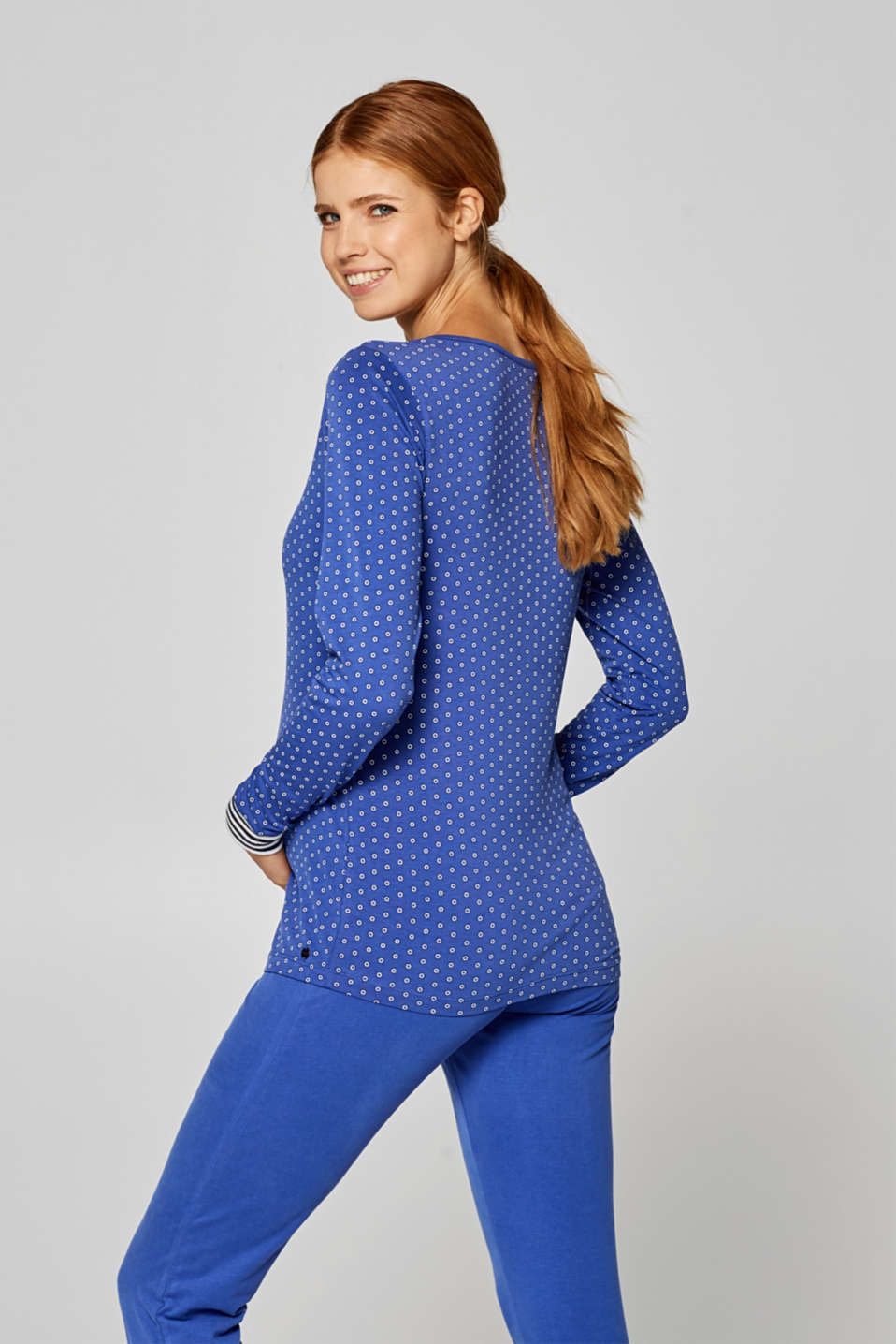 Long sleeve nursing top, stretch cotton, LCELECTRIC BLUE, detail image number 1