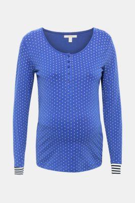 Long sleeve nursing top, stretch cotton, LCELECTRIC BLUE, detail