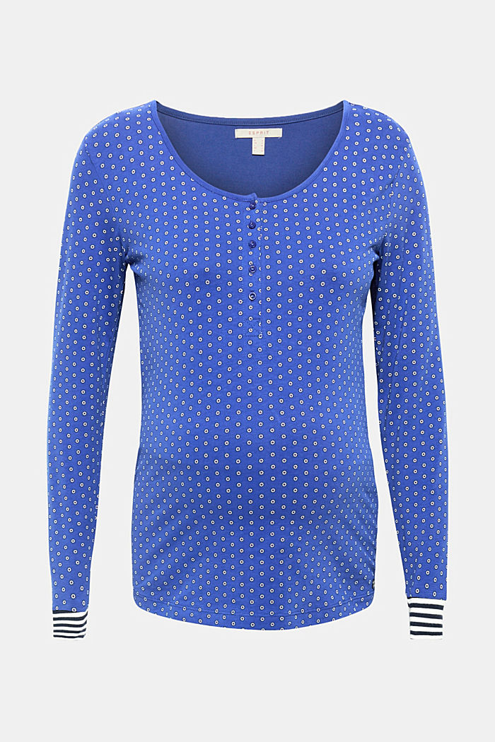 Long sleeve nursing top, stretch cotton, ELECTRIC BLUE, detail image number 0