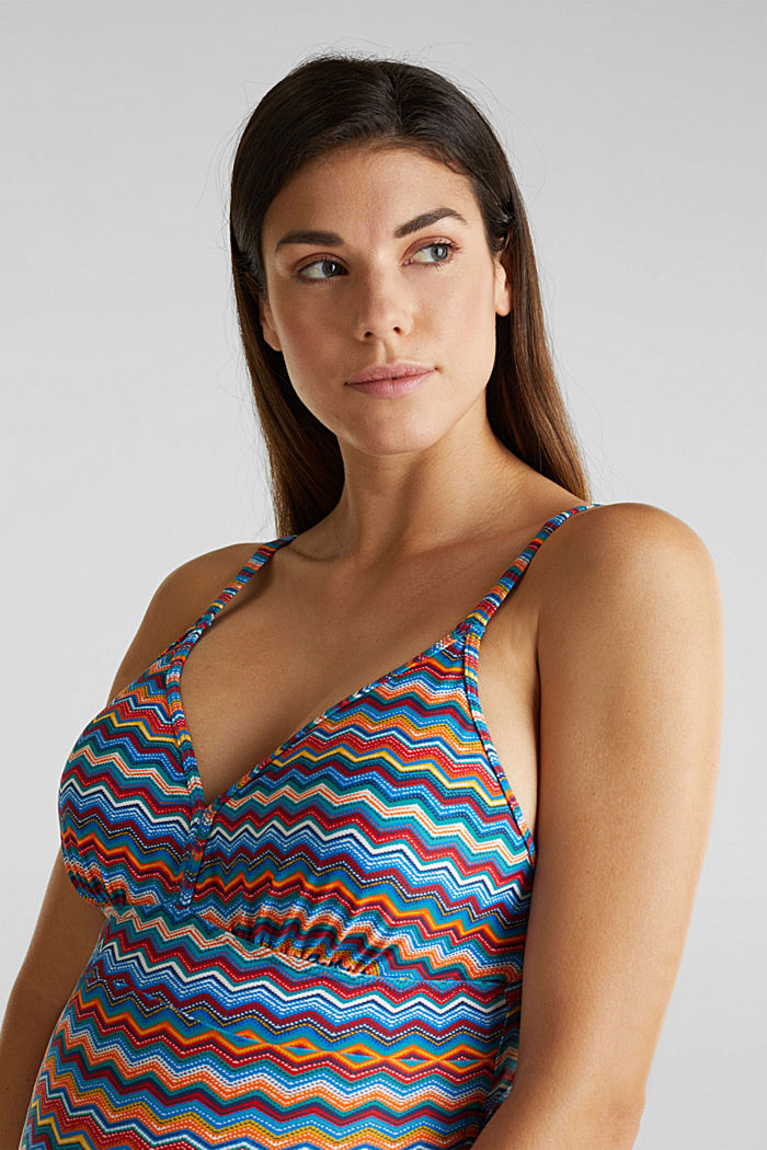 Swimsuit with gathered ties, AZURE BLUE, detail image number 3