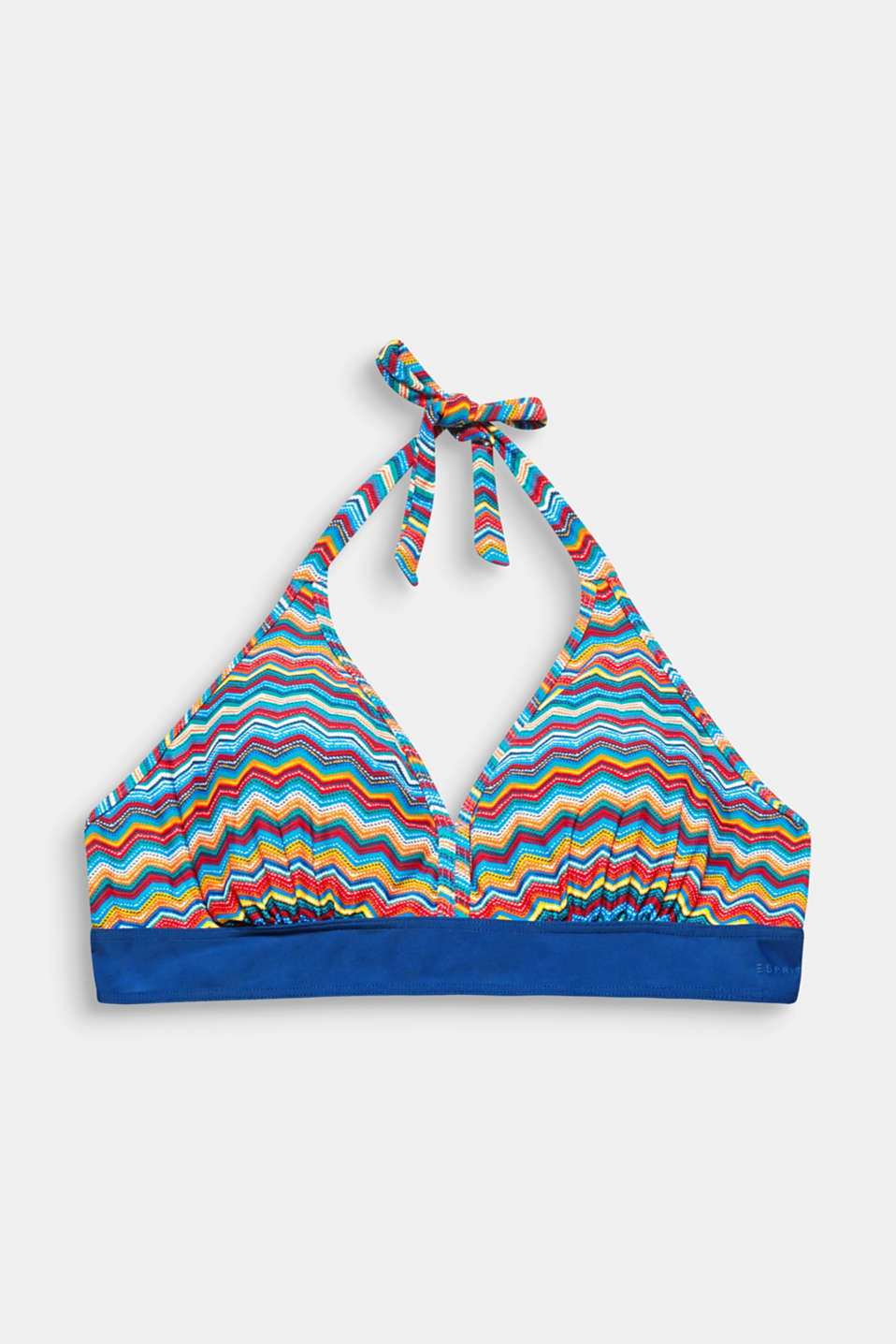 This padded, wireless halterneck top with a colourful zigzag print will put you in a summery mood!