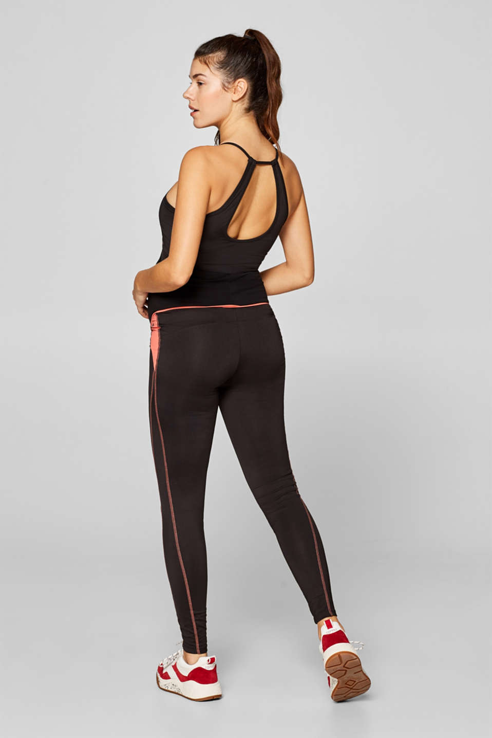 Active leggings with an over-bump waistband, LCBLACK, detail image number 2