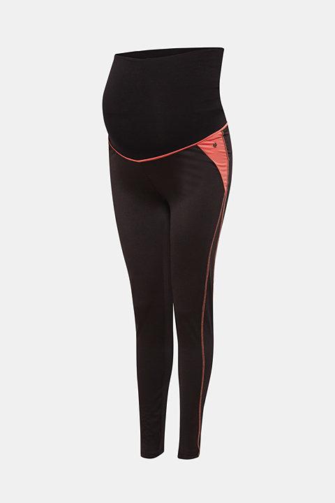 Active leggings with an over-bump waistband