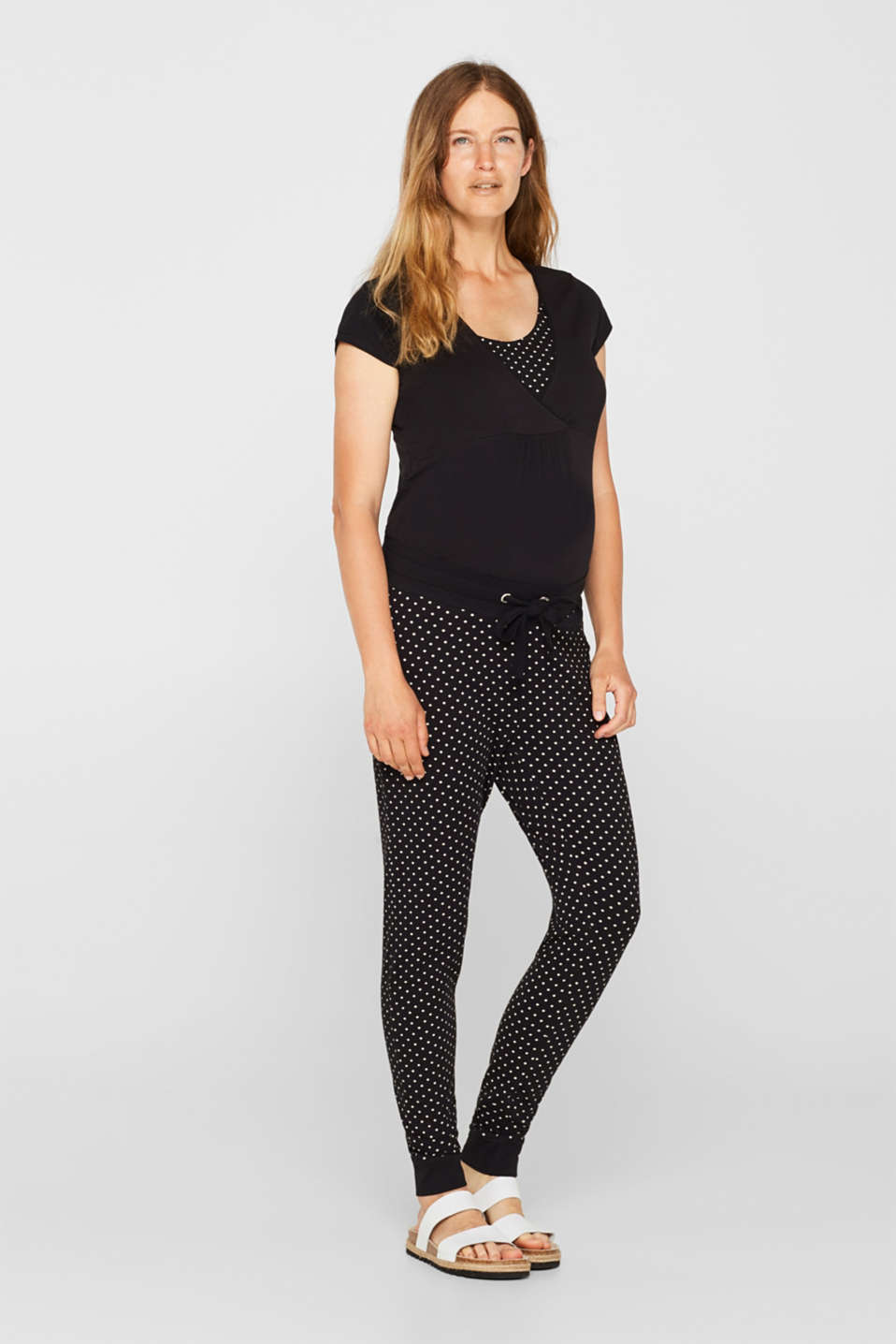 Stretch trousers with an under-bump waistband, LCBLACK, detail image number 0